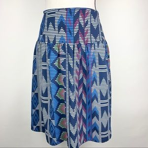Graphic design, lined flair print skirt